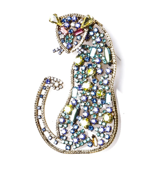 Lisa C Bijoux Leopard Brooch in Green