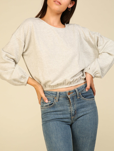Rib Knit Top in Grey