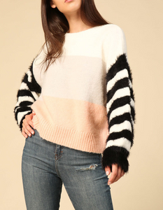 Colorblock Sweater w Fuzzy Striped Sleeves in Multi