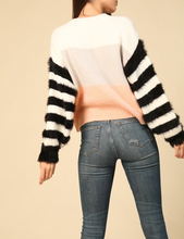 Load image into Gallery viewer, Colorblock Sweater w Fuzzy Striped Sleeves in Multi