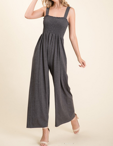 Wide Legged Smocked Jumpsuit in Charcoal