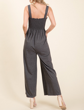 Load image into Gallery viewer, Wide Legged Smocked Jumpsuit in Charcoal