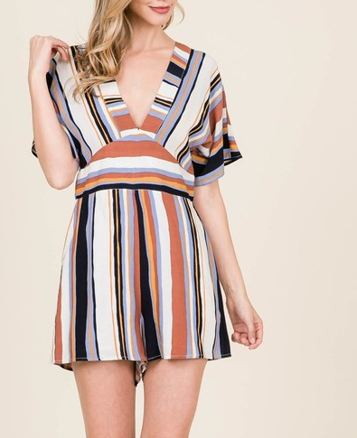 Woven Stripe Romper In Rust Multi