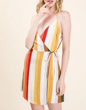 Load image into Gallery viewer, Midi Striped Wrap Dress in Multi