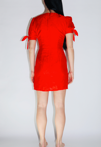 Moon River Puff Sleeve Front-Twist Dress in Red
