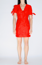 Load image into Gallery viewer, Moon River Puff Sleeve Front-Twist Dress in Red