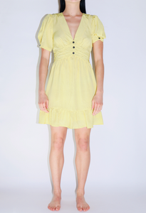 Moon River Twist Sleeve V-Neck Dress w/Ruffle in Yellow Dot