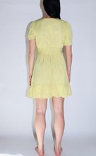 Load image into Gallery viewer, Moon River Twist Sleeve V-Neck Dress w/Ruffle in Yellow Dot