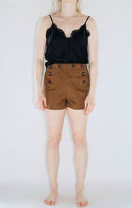 Front-Button Shorts In Brown
