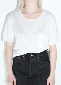 Oversized Basic Round Neck Tee w/Pocket in White