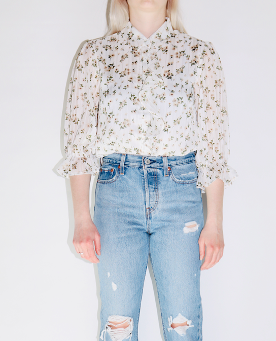 Floral Ruffle Woven Top In Off White