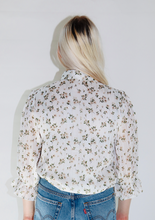 Load image into Gallery viewer, Floral Ruffle Woven Top In Off White