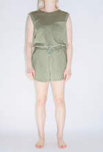 Load image into Gallery viewer, Jersey Pull String Romper in Olive