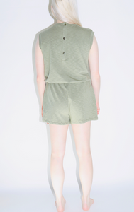 Jersey Pull String Romper in Olive