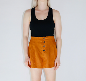 Button Detail Flare Shorts in Rust