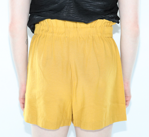 Flared Shorts w/Button Detail In Mustard