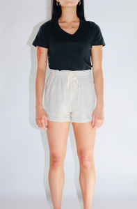 Ellison Summer Stripe Woven Shorts in Cream/Black