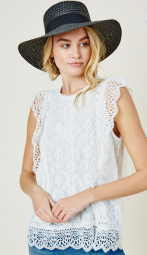 Hayden Sleeveless Lace Top in Off White