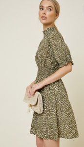 Hayden Smocking Dress in Olive