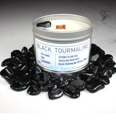 Body Kantina Black Tourmaline Intention Crystal Candle