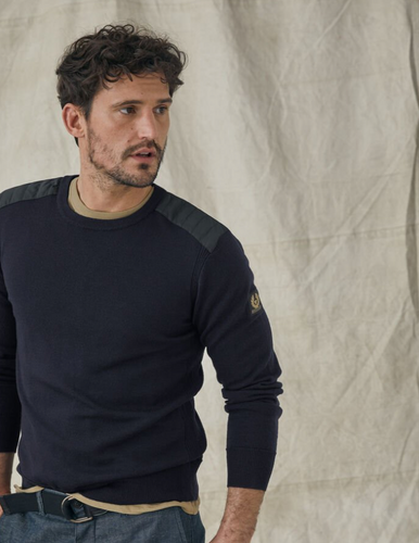 Belstaff Kerrigan Crew Neck in Washed Navy