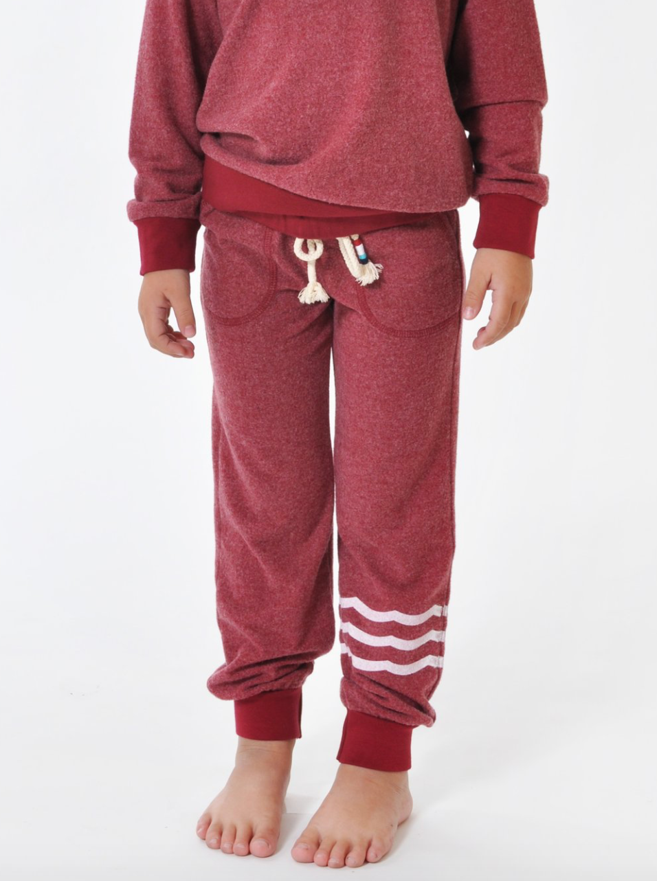Sol Angeles Kids Essential Waves Hacci Jogger in Cherry