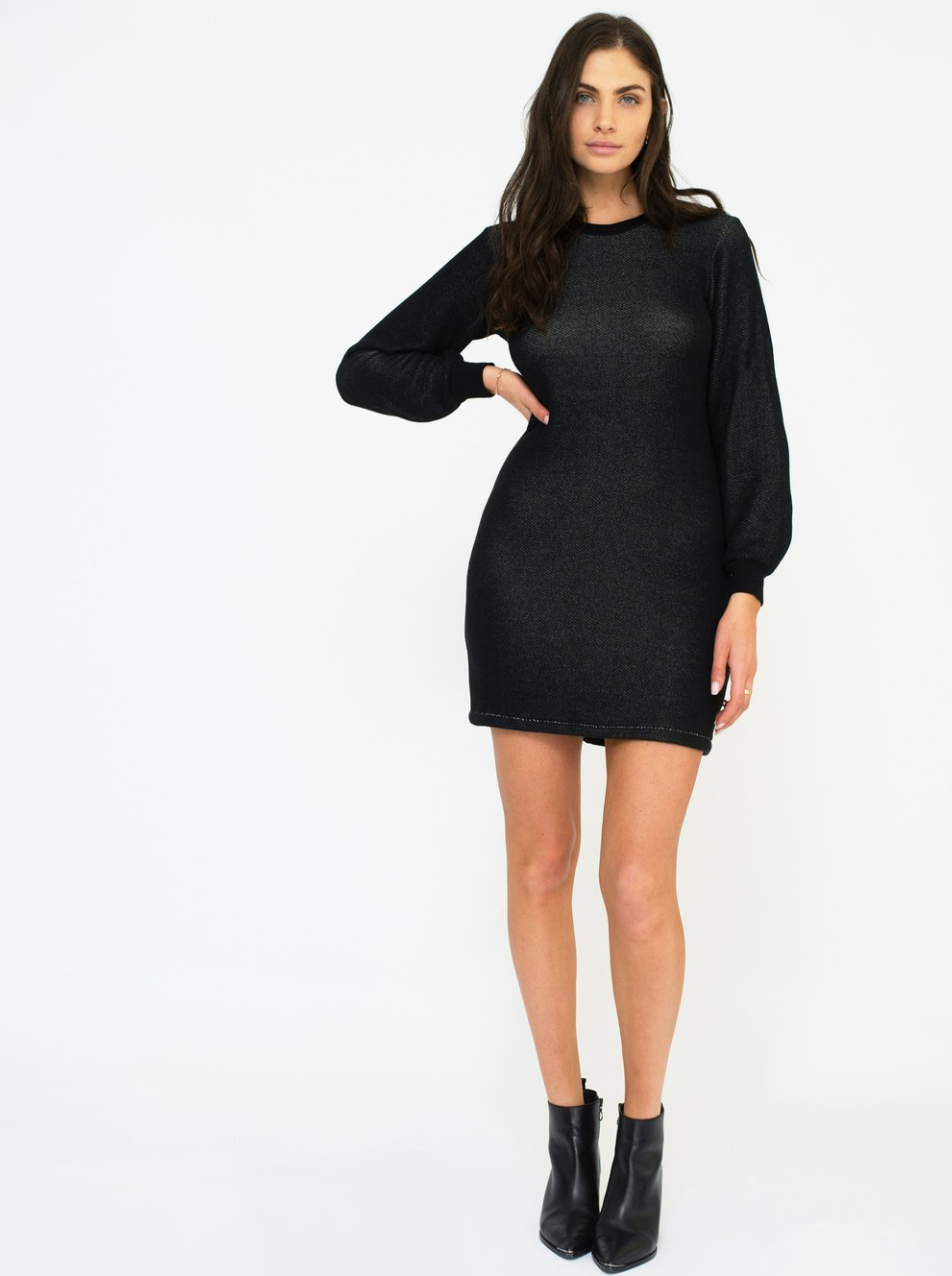 Sol Angeles Roma Billow Sleeve Dress in Black