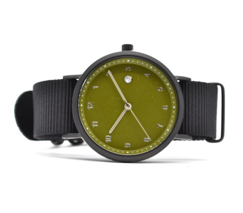 Curated Basics Drew Watch in Olive w/Black Nylon Strap
