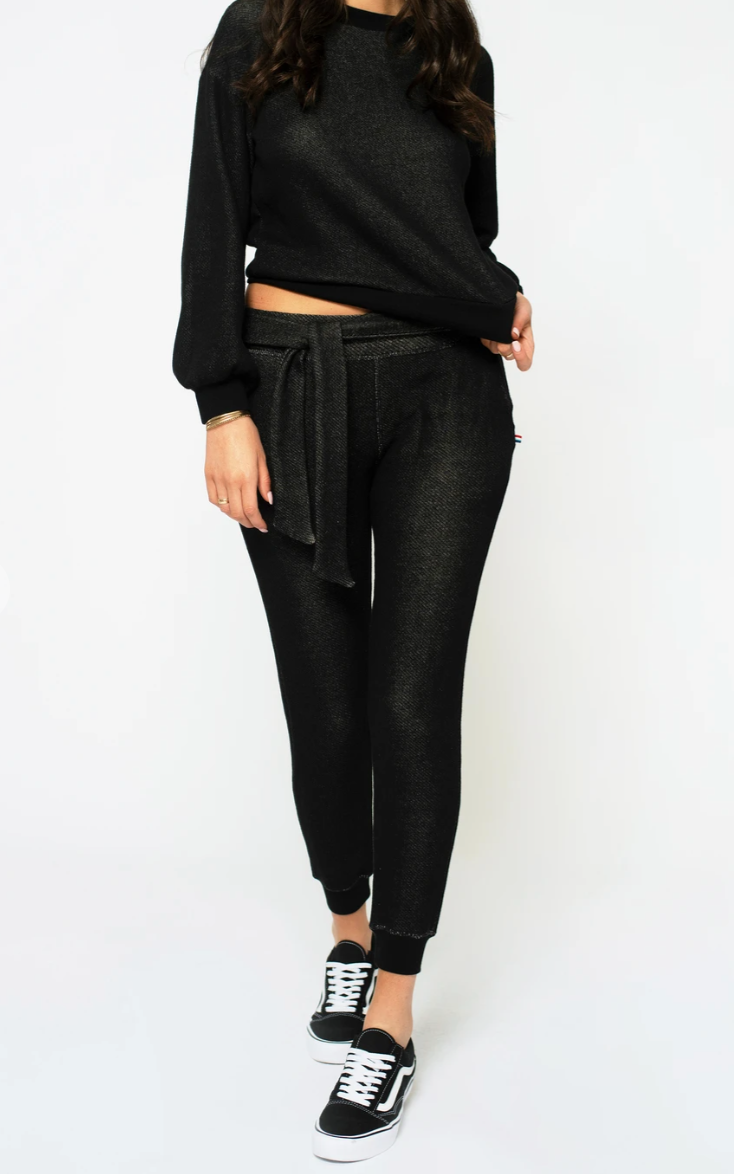 Sol Angeles Roma Belted Tie Jogger in Black