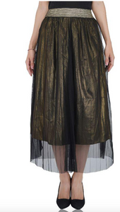 America & Beyond Golden Haze Pleated Net Trousers in Black/Gold