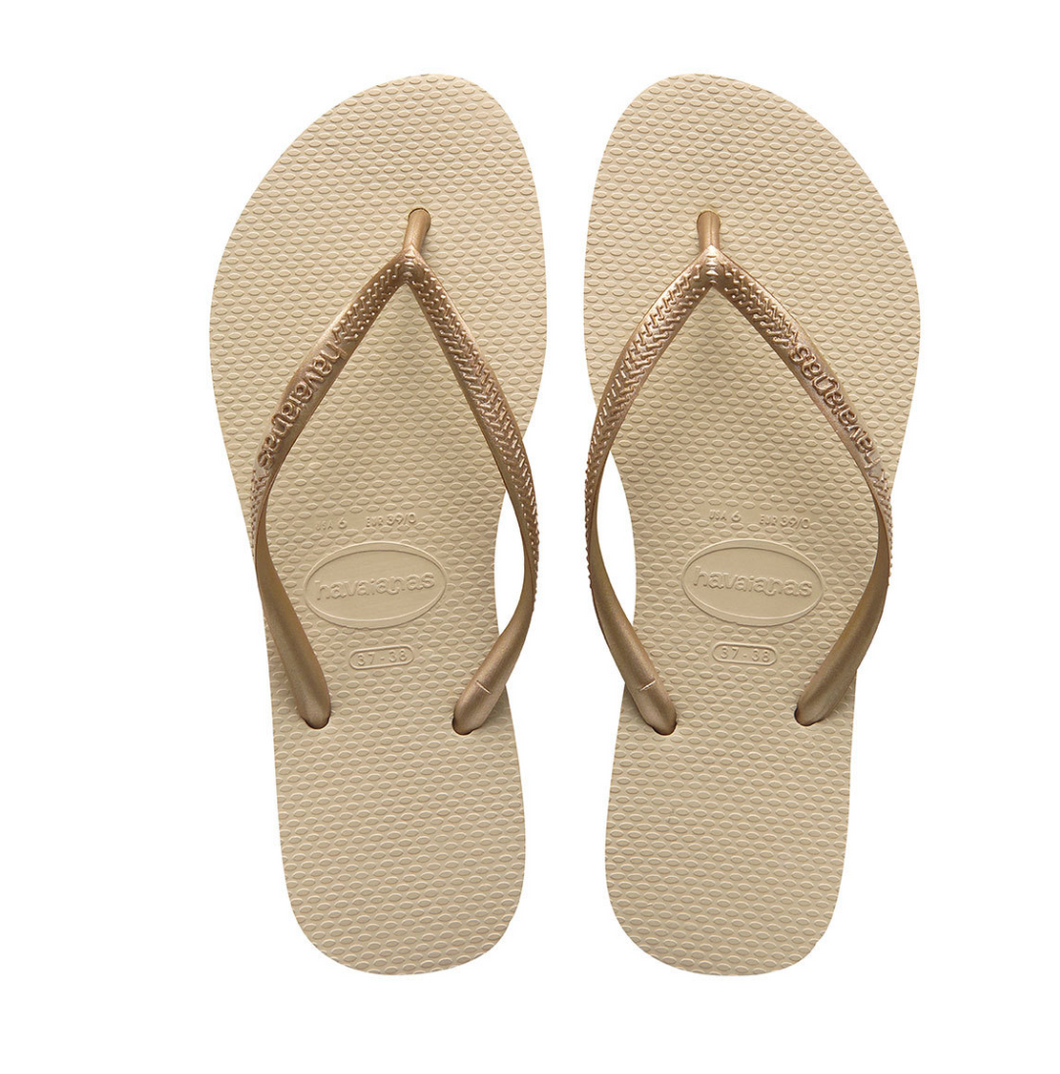 Havaianas Slim Flip Flops in Sand Grey/Light Golden