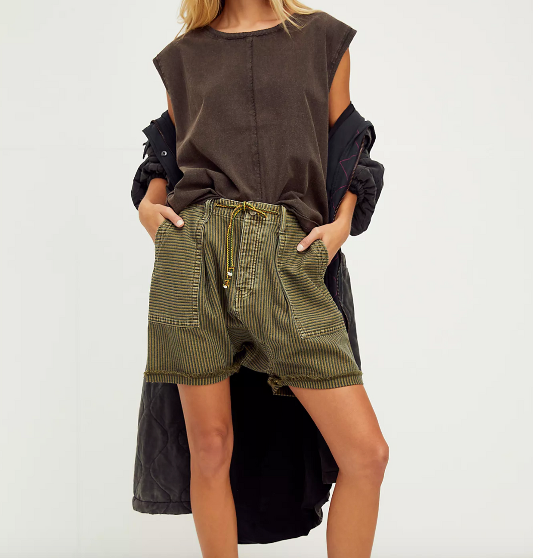 Free People Easy Rider Short in Olive Sparrow