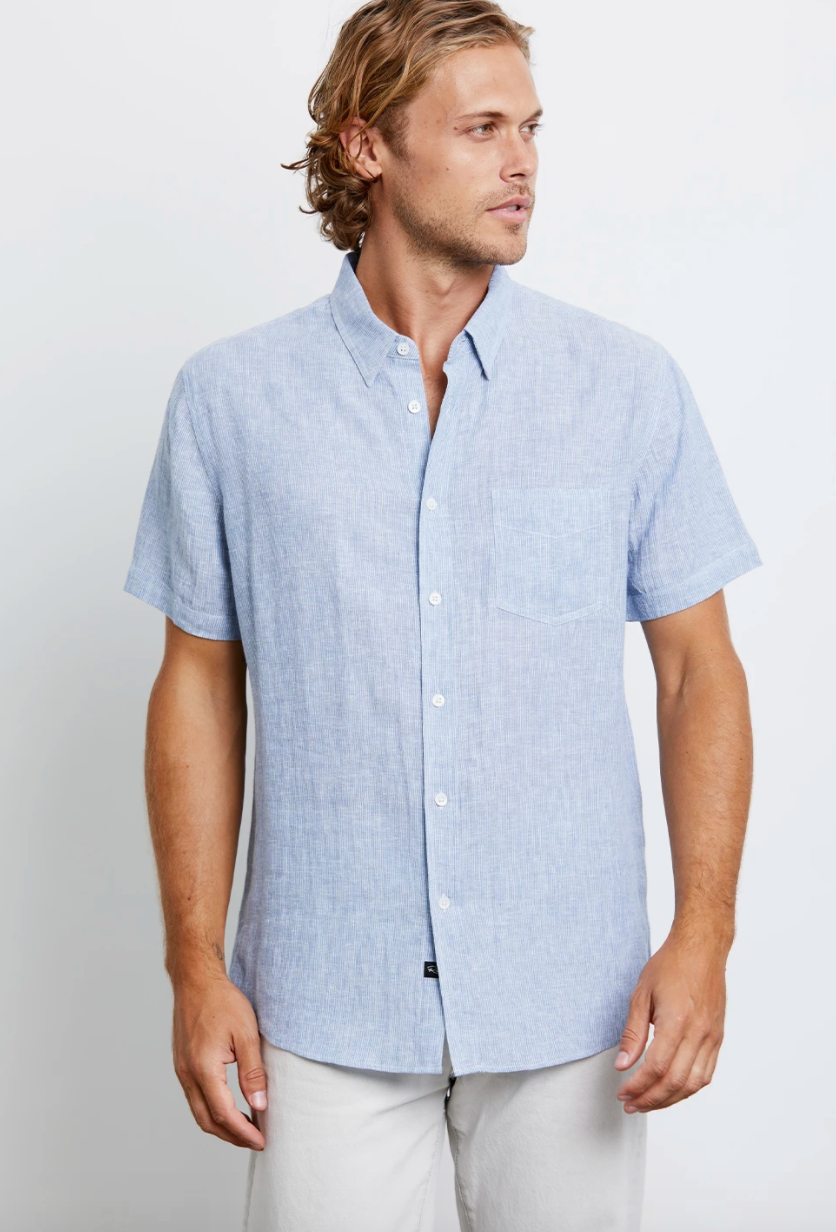 Rails Carson in Washed Blue w/White
