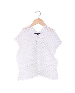 America & Beyond Kids Kaftan In White Star Lace Fabric With Drawstring And Tassels
