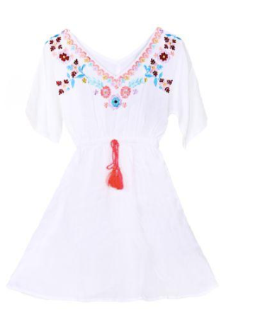 America & Beyond Kids White Alyssum Embrodered Dress