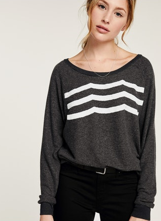 Sol Angeles Waves Pullover in Black