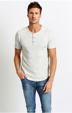 Sol Angeles Speckled Henley in Natural