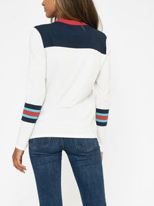 Sol Angeles Color Block L/S Crew in D White