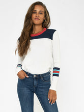 Load image into Gallery viewer, Sol Angeles Color Block L/S Crew in D White