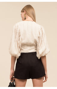 Moon River L/S Balloon Wrap Top in Cream