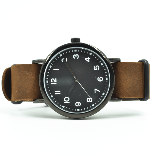 Curated Basics The Classic Watch in Black w/Brown Leather Strap