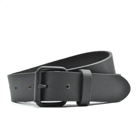 Curated Basics Black Leather on Black Buckle Belt