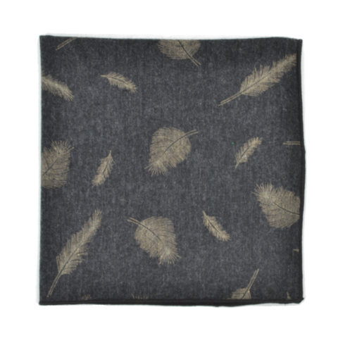 Curated Basics Feather Pocket Square in Charcoal Grey