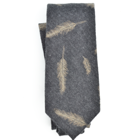 Curated Basics Feather Tie in Charcoal Grey