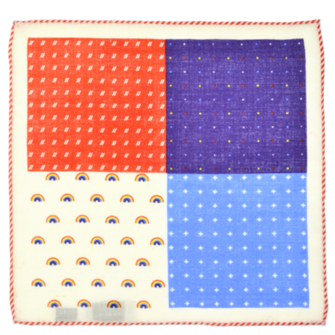Curated Basics 4 Sided Wool Pocket Square in Orange Hem