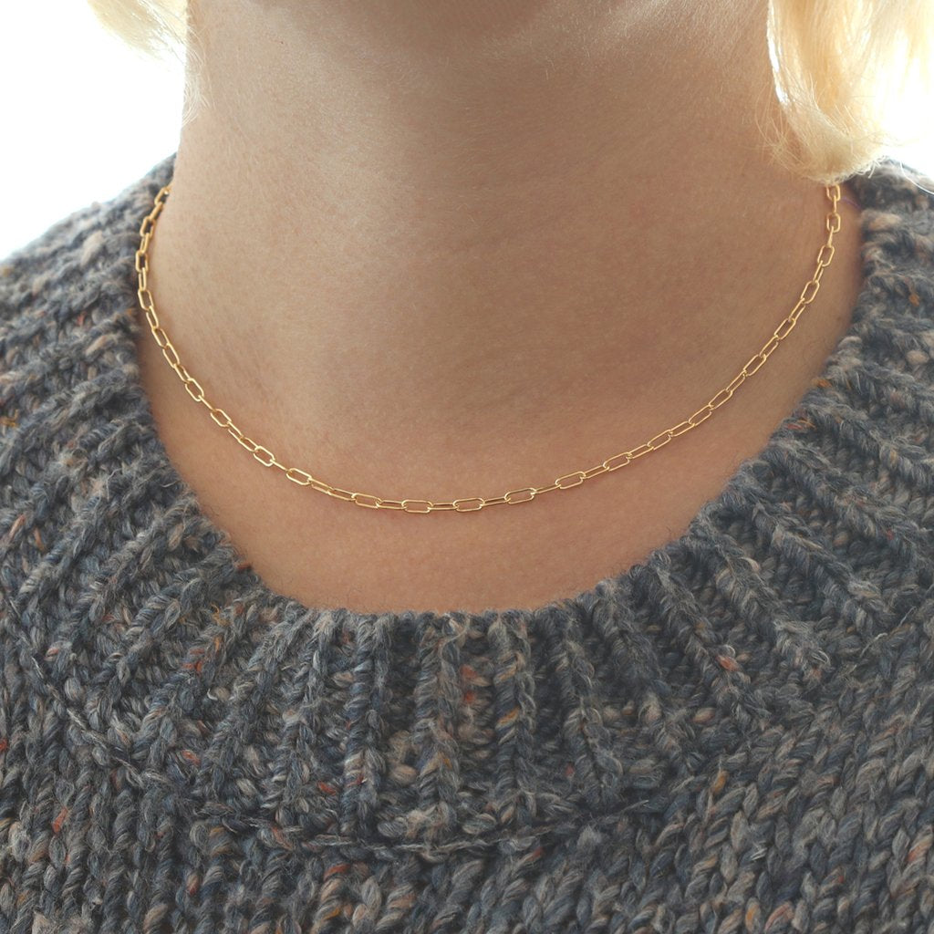 Kris Nations Thick Drawn Cable Chain Choker in Gold