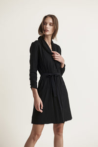 Skin Basic Double Layer Wrap Robe in Black