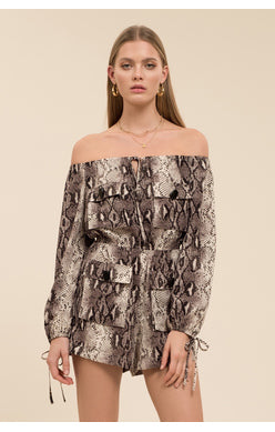 Moon River Off-Shoulder Romper w/Sleeve Tie in Snake Print