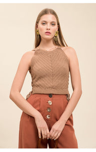 Moon River Side Tie Sleeveless Sweater in Taupe