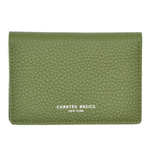 Curated Basics Soft Pebble Grain Bi-Fold Wallet in Olive